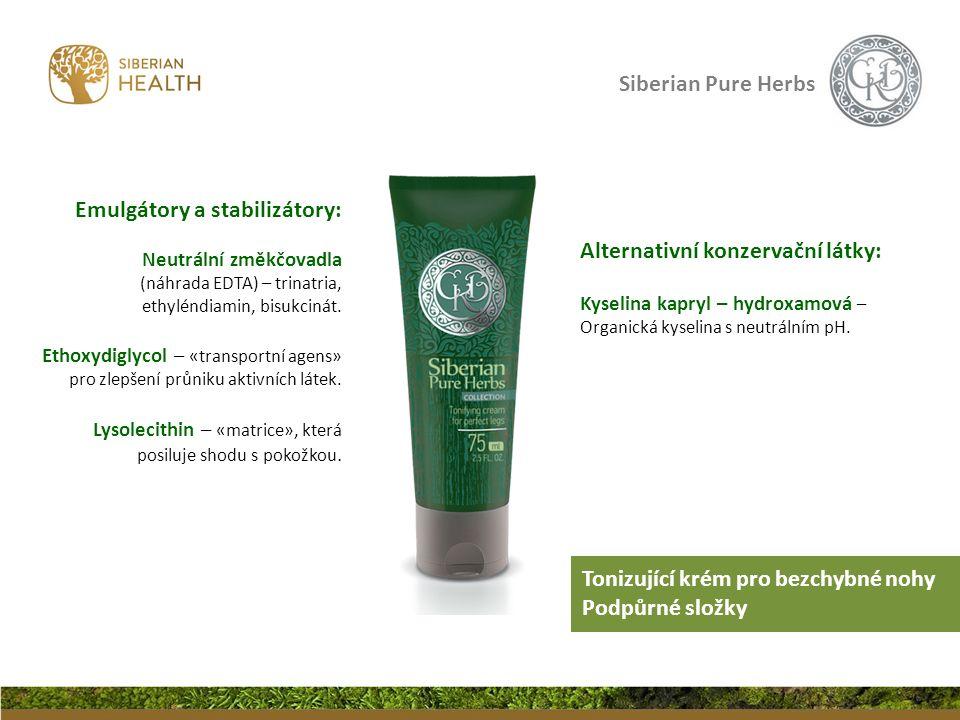 Siberian Pure Herbs Alternativní konzervační látky: Kyselina kapryl – hydroxamová – Organická kyselina s neutrálním pH. Emulgátory a stabilizátory: Ne