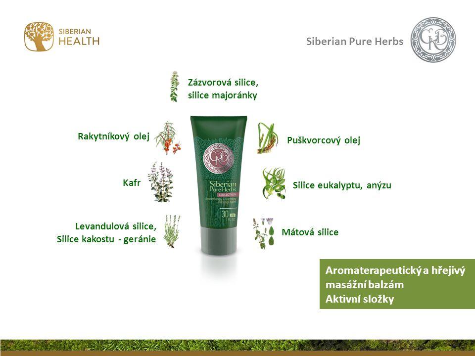 Siberian Pure Herbs Aromaterapeutický a hřejivý masážní balzám Aktivní složky Puškvorcový olej Levandulová silice, Silice kakostu - geránie Mátová sil