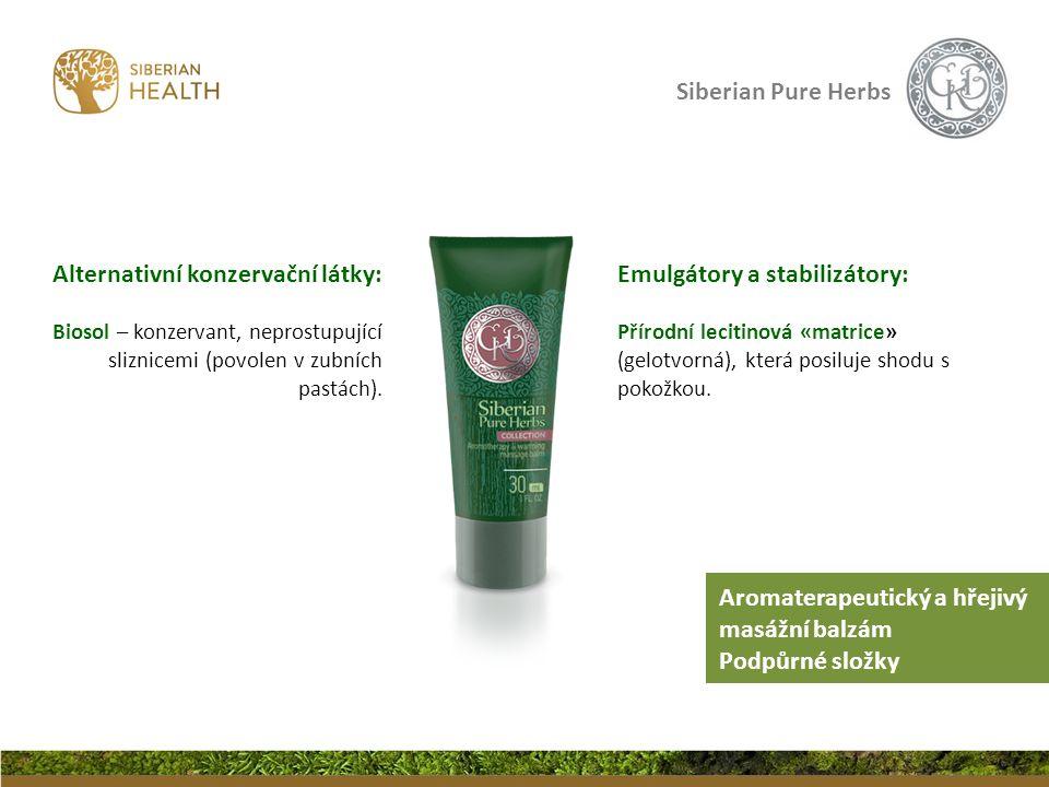 Siberian Pure Herbs Emulgátory a stabilizátory: Přírodní lecitinová «matrice» (gelotvorná), která posiluje shodu s pokožkou. Alternativní konzervační
