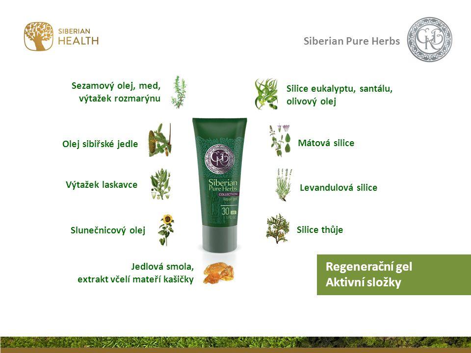 Siberian Pure Herbs Mátová silice Silice thůje Levandulová silice Výtažek laskavce Olej sibiřské jedle Slunečnicový olej Regenerační gel Aktivní složk
