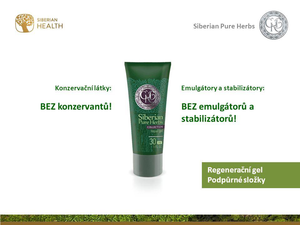 Siberian Pure Herbs Konzervační látky: BEZ konzervantů! Emulgátory a stabilizátory: BEZ emulgátorů a stabilizátorů! Regenerační gel Podpůrné složky