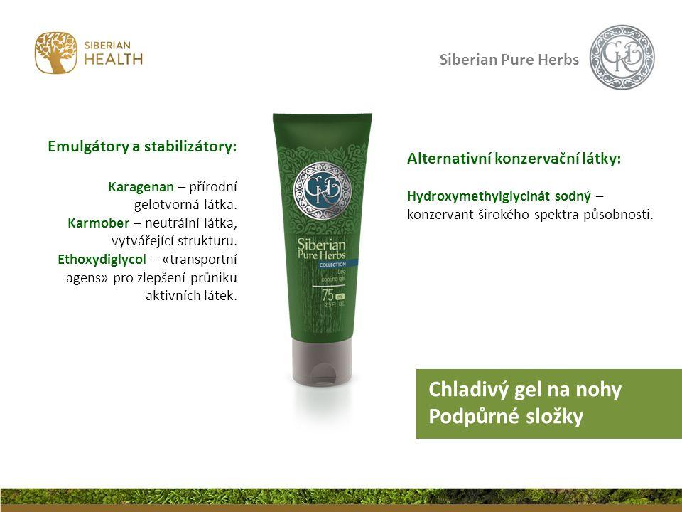 Siberian Pure Herbs Alternativní konzervační látky: Hydroxymethylglycinát sodný – konzervant širokého spektra působnosti. Emulgátory a stabilizátory: