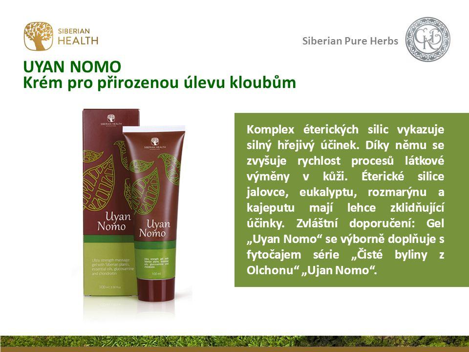 Siberian Pure Herbs UYAN NOMO Krém pro přirozenou úlevu kloubům Komplex éterických silic vykazuje silný hřejivý účinek. Díky němu se zvyšuje rychlost