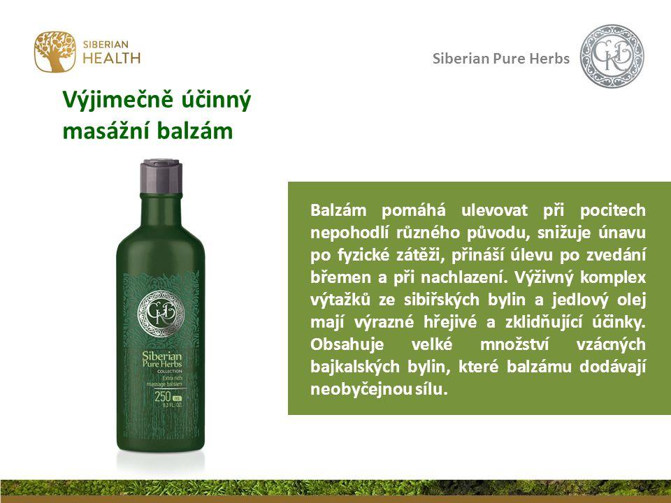 Siberian Pure Herbs Výjimečně účinný masážní balzám Balzám pomáhá ulevovat při pocitech nepohodlí různého původu, snižuje únavu po fyzické zátěži, přináší úlevu po zvedání břemen a při nachlazení.
