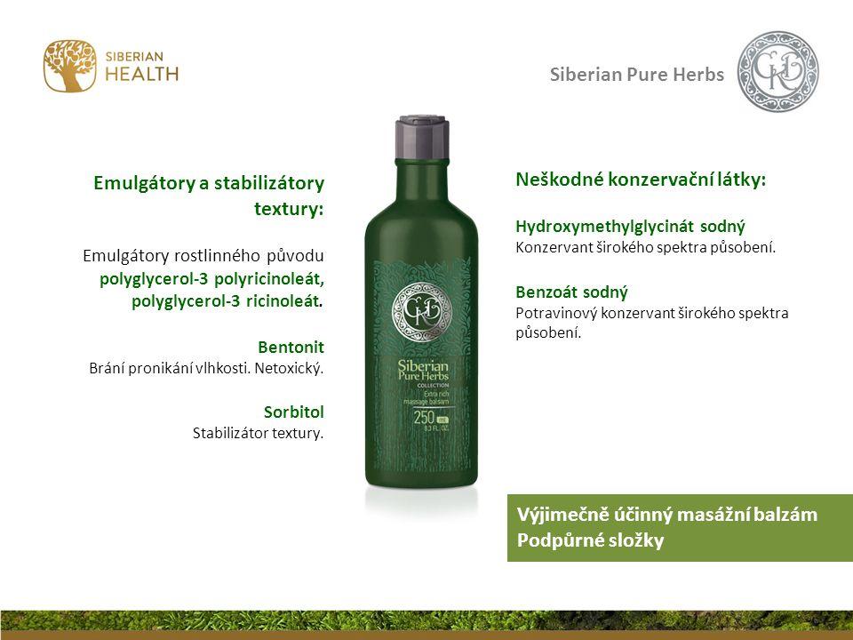 Siberian Pure Herbs Neškodné konzervační látky: Hydroxymethylglycinát sodný Konzervant širokého spektra působení.