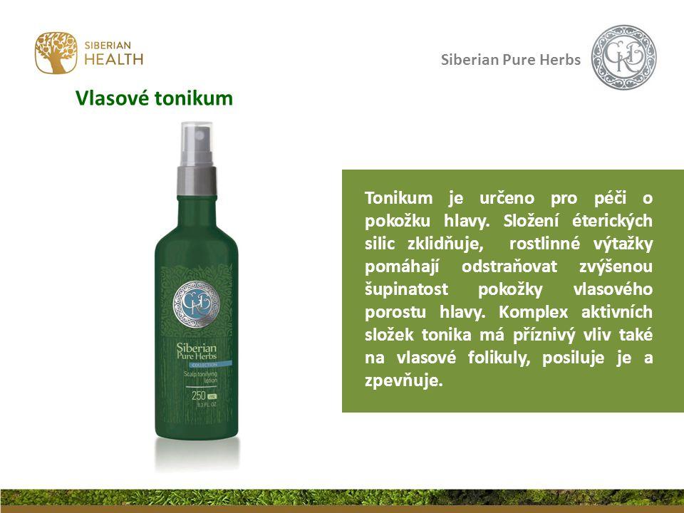 Siberian Pure Herbs Tonikum je určeno pro péči o pokožku hlavy. Složení éterických silic zklidňuje, rostlinné výtažky pomáhají odstraňovat zvýšenou šu