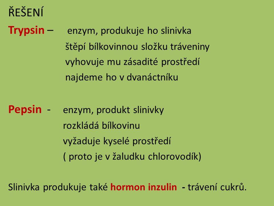ŘEŠENÍ Trypsin – enzym, produkuje ho slinivka štěpí bílkovinnou složku tráveniny vyhovuje mu zásadité prostředí najdeme ho v dvanáctníku Pepsin - enzym, produkt slinivky rozkládá bílkovinu vyžaduje kyselé prostředí ( proto je v žaludku chlorovodík) Slinivka produkuje také hormon inzulin - trávení cukrů.