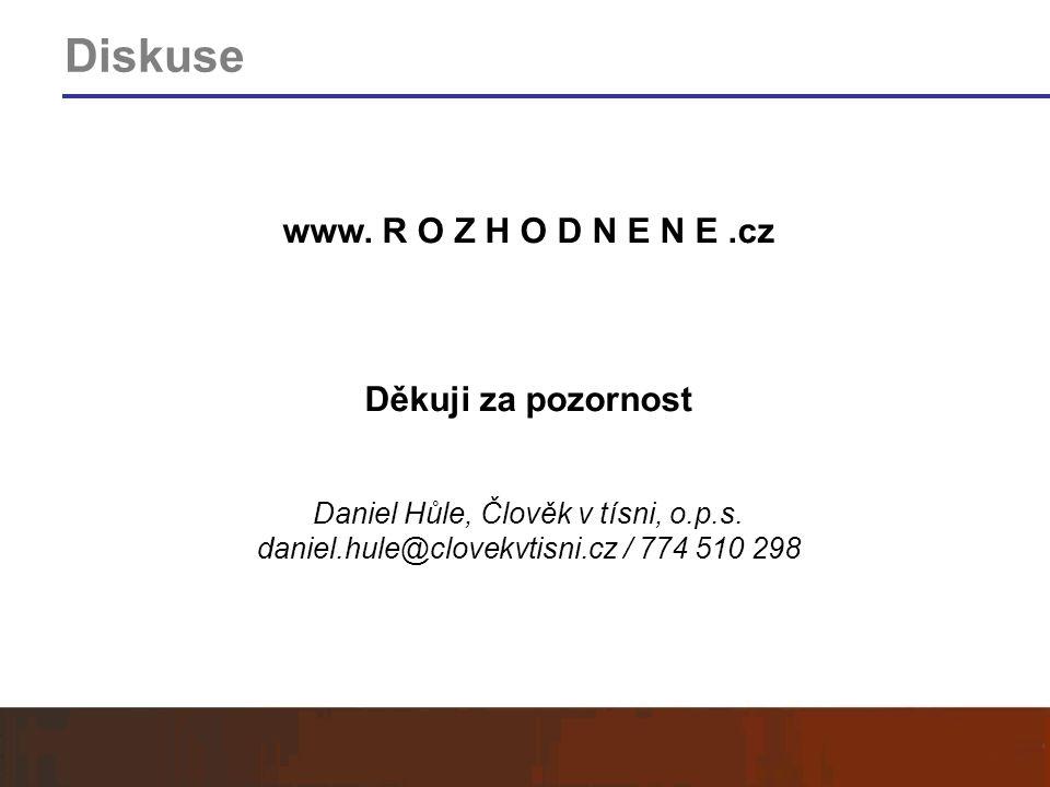 Diskuse www. R O Z H O D N E N E.cz Děkuji za pozornost Daniel Hůle, Člověk v tísni, o.p.s. daniel.hule@clovekvtisni.cz / 774 510 298