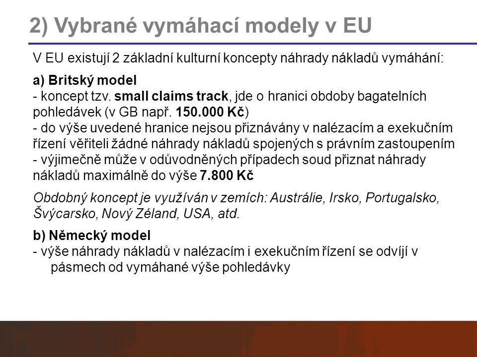 2) Vybrané vymáhací modely v EU V EU existují 2 základní kulturní koncepty náhrady nákladů vymáhání: a) Britský model - koncept tzv. small claims trac
