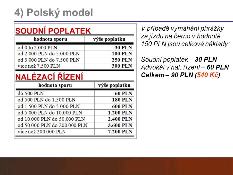 4) Polský model V případě vymáhání přirážky za jízdu na černo v hodnotě 150 PLN jsou celkové náklady: Soudní poplatek – 30 PLN Advokát v nal. řízení –