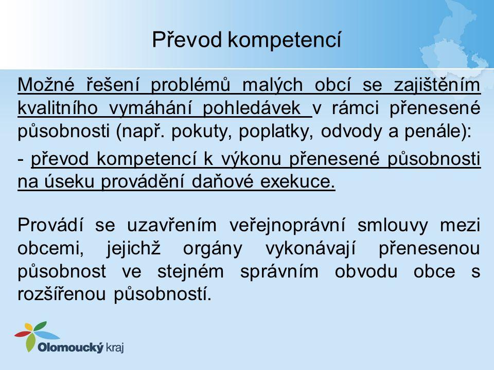 Převod kompetencí Možné řešení problémů malých obcí se zajištěním kvalitního vymáhání pohledávek v rámci přenesené působnosti (např.