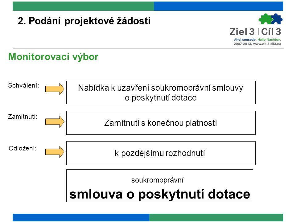 2. Podání projektové žádosti Odložení: Monitorovací výbor Schválení: Zamítnutí: Nabídka k uzavření soukromoprávní smlouvy o poskytnutí dotace Zamítnut