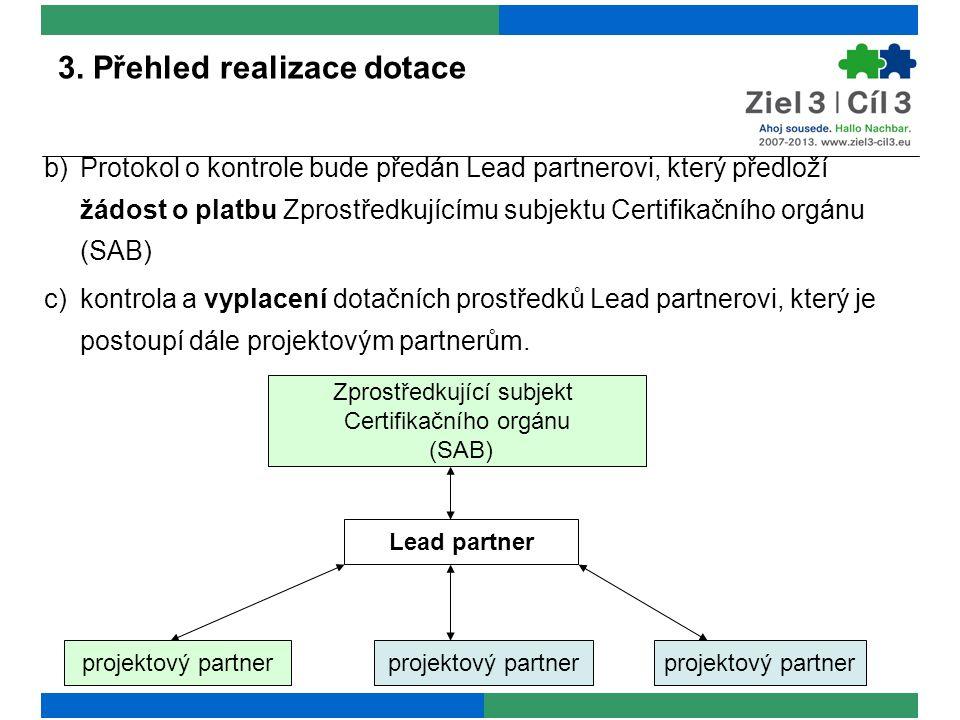 3. Přehled realizace dotace projektový partner Lead partner Zprostředkující subjekt Certifikačního orgánu (SAB) b)Protokol o kontrole bude předán Lead