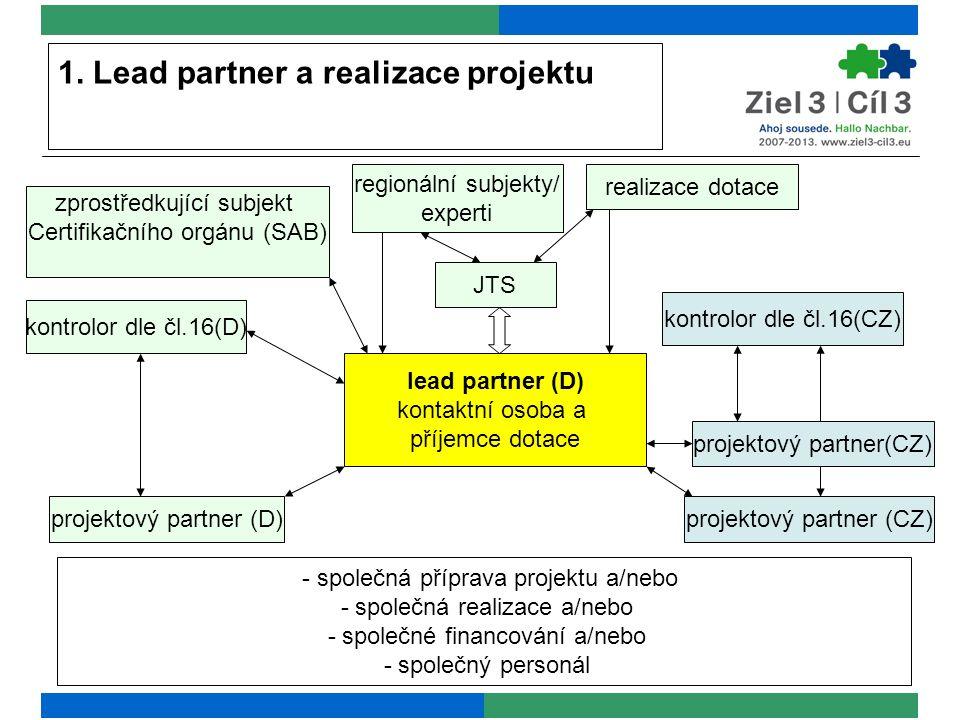 1. Lead partner a realizace projektu - společná příprava projektu a/nebo - společná realizace a/nebo - společné financování a/nebo - společný personál