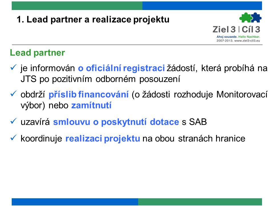 1. Lead partner a realizace projektu Lead partner je informován o oficiální registraci žádostí, která probíhá na JTS po pozitivním odborném posouzení