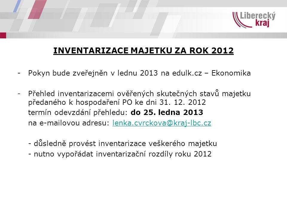 INVENTARIZACE MAJETKU ZA ROK 2012 - Pokyn bude zveřejněn v lednu 2013 na edulk.cz – Ekonomika -Přehled inventarizacemi ověřených skutečných stavů majetku předaného k hospodaření PO ke dni 31.