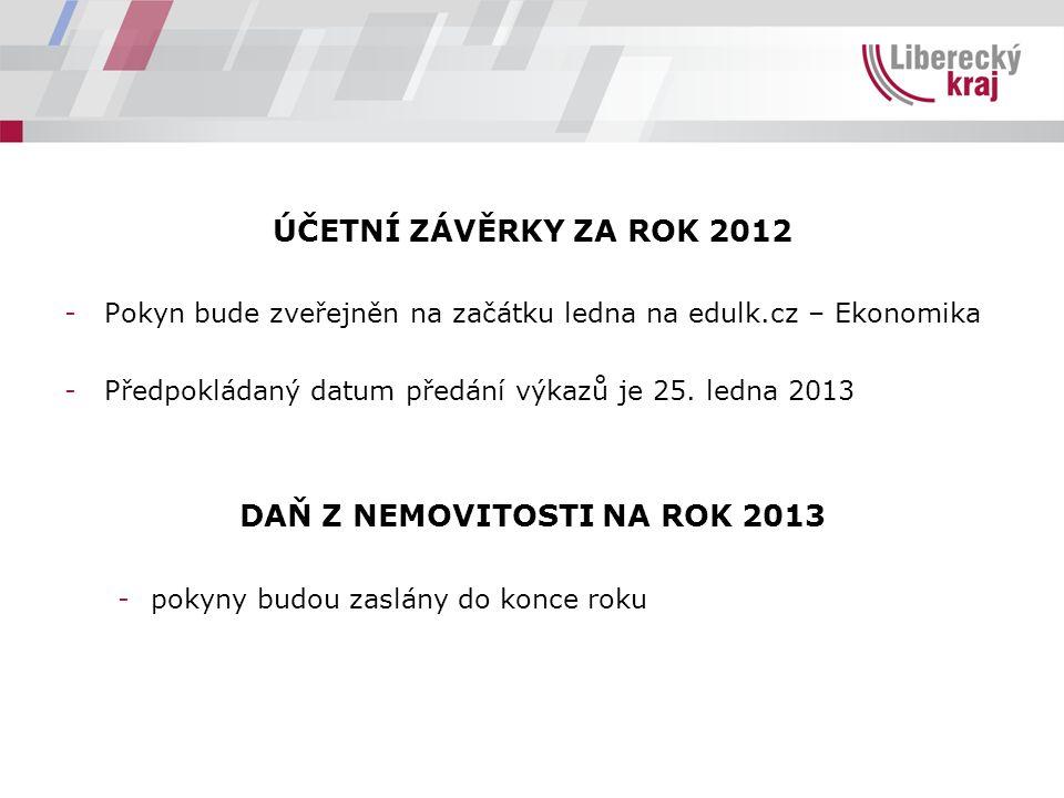 ÚČETNÍ ZÁVĚRKY ZA ROK 2012 -Pokyn bude zveřejněn na začátku ledna na edulk.cz – Ekonomika -Předpokládaný datum předání výkazů je 25.