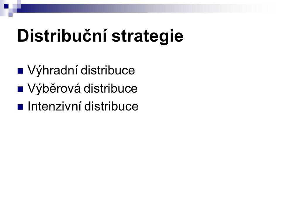 Distribuční strategie Výhradní distribuce Výběrová distribuce Intenzivní distribuce