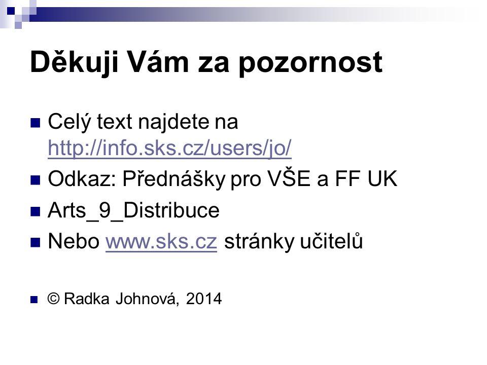 Děkuji Vám za pozornost Celý text najdete na http://info.sks.cz/users/jo/ http://info.sks.cz/users/jo/ Odkaz: Přednášky pro VŠE a FF UK Arts_9_Distribuce Nebo www.sks.cz stránky učitelůwww.sks.cz © Radka Johnová, 2014