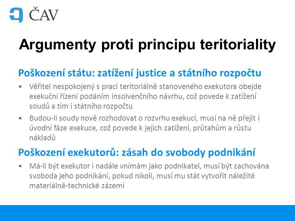 Argumenty proti principu teritoriality Poškození státu: zatížení justice a státního rozpočtu Věřitel nespokojený s prací teritoriálně stanoveného exekutora obejde exekuční řízení podáním insolvenčního návrhu, což povede k zatížení soudů a tím i státního rozpočtu Budou-li soudy nově rozhodovat o rozvrhu exekucí, musí na ně přejít i úvodní fáze exekuce, což povede k jejich zatížení, průtahům a růstu nákladů Poškození exekutorů: zásah do svobody podnikání Má-li být exekutor i nadále vnímám jako podnikatel, musí být zachována svoboda jeho podnikání, pokud nikoli, musí mu stát vytvořit náležité materiálně-technické zázemí