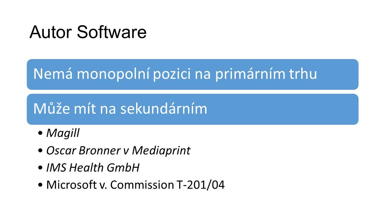 Autor Software Nemá monopolní pozici na primárním trhuMůže mít na sekundárním Magill Oscar Bronner v Mediaprint IMS Health GmbH Microsoft v.