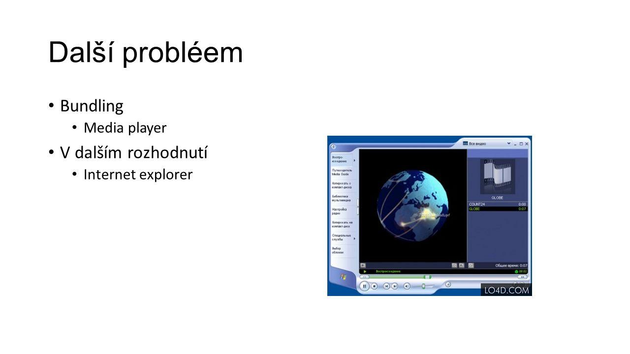Další probléem Bundling Media player V dalším rozhodnutí Internet explorer