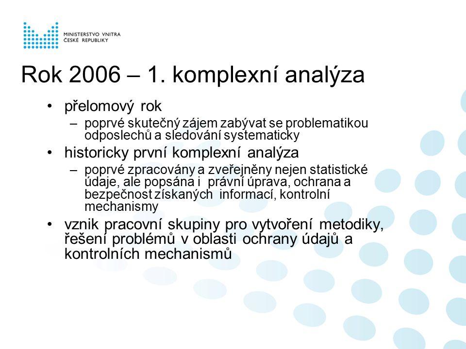 2007 – nová éra profesionálních analýz analýza odposlechů a sledování dle nové metodiky –podrobnější a přesnější statistiky –objektivnější metody určení efektivity úkonů –podrobný popis opatření ke zlepšení ochrany informací nově zahrnuty i údaje za IMV mimořádně rovněž popsání situace v oblasti odposlechů a sledování u dalších policejních orgánů a státního zastupitelství –celní správa, BIS, ÚZSI, Vojenská policie, Vězeňská služba