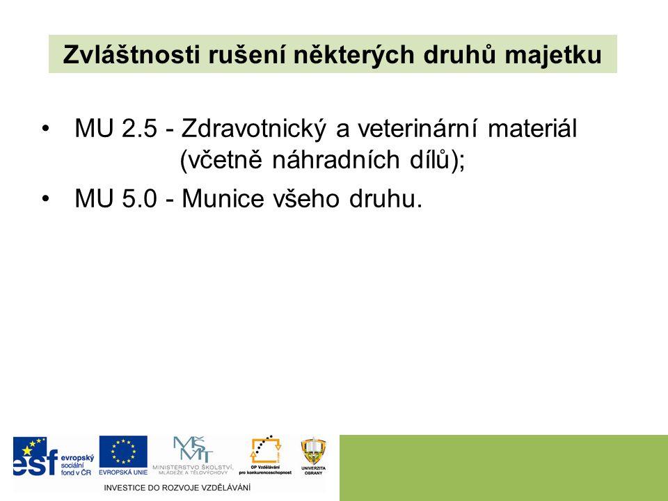 MU 2.5 - Zdravotnický a veterinární materiál (včetně náhradních dílů); MU 5.0 - Munice všeho druhu. Zvláštnosti rušení některých druhů majetku