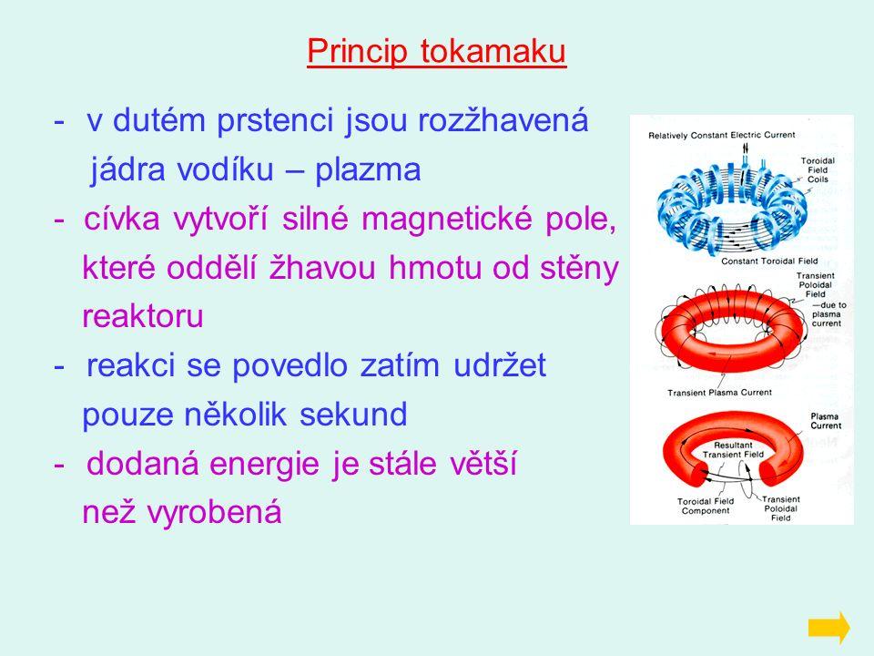 Princip tokamaku -v dutém prstenci jsou rozžhavená jádra vodíku – plazma - cívka vytvoří silné magnetické pole, které oddělí žhavou hmotu od stěny rea