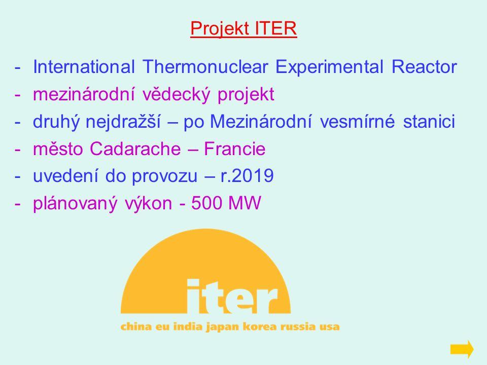 Projekt ITER -International Thermonuclear Experimental Reactor -mezinárodní vědecký projekt -druhý nejdražší – po Mezinárodní vesmírné stanici -město