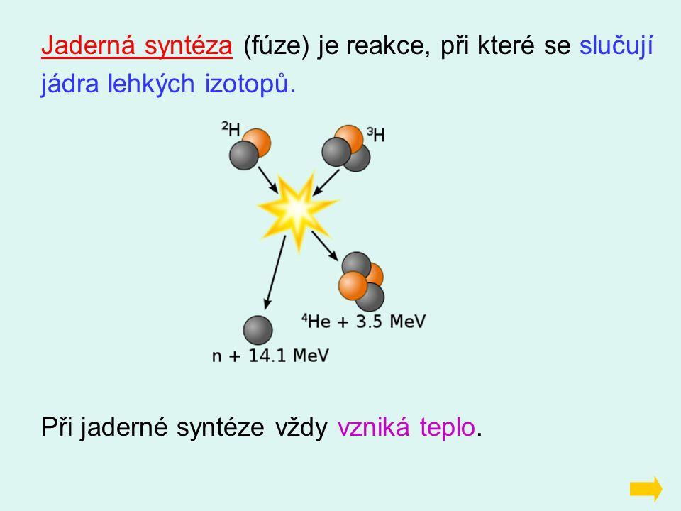 Jaderná syntéza (fúze) je reakce, při které se slučují jádra lehkých izotopů. Při jaderné syntéze vždy vzniká teplo.