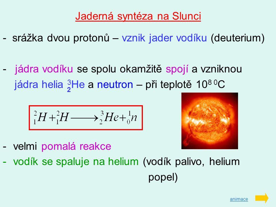 Jaderná syntéza na Slunci - srážka dvou protonů – vznik jader vodíku (deuterium) - jádra vodíku se spolu okamžitě spojí a vzniknou jádra helia 3 He a