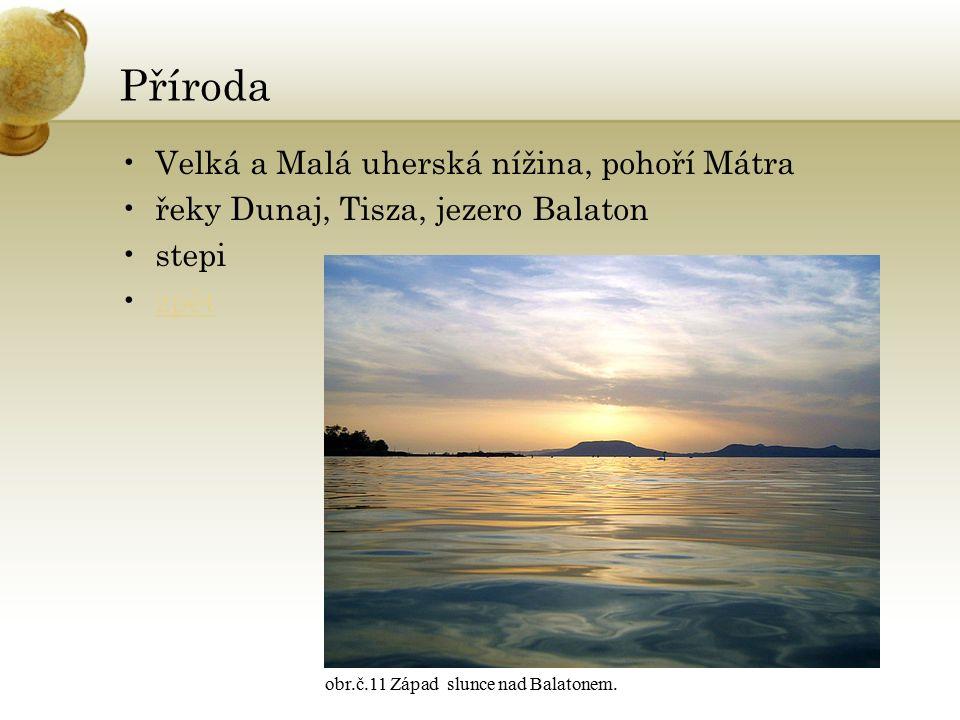 Příroda Velká a Malá uherská nížina, pohoří Mátra řeky Dunaj, Tisza, jezero Balaton stepi zpět obr.č.11 Západ slunce nad Balatonem.