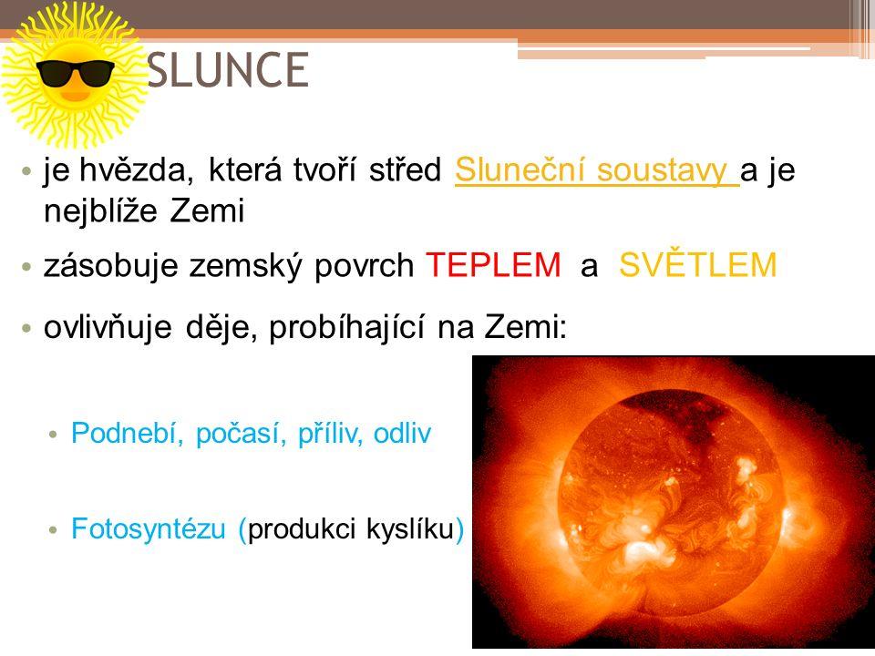 SLUNCE je hvězda, která tvoří střed Sluneční soustavy a je nejblíže ZemiSluneční soustavy zásobuje zemský povrch TEPLEM a SVĚTLEM ovlivňuje děje, prob