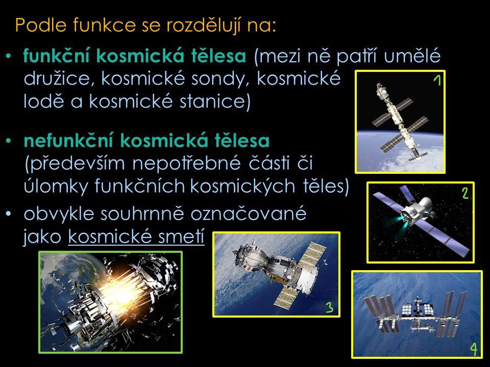 Podle funkce se rozdělují na: funkční kosmická tělesa (mezi ně patří umělé družice, kosmické sondy, kosmické lodě a kosmické stanice) nefunkční kosmická tělesa (především nepotřebné části či úlomky funkčních kosmických těles) obvykle souhrnně označované jako kosmické smetí