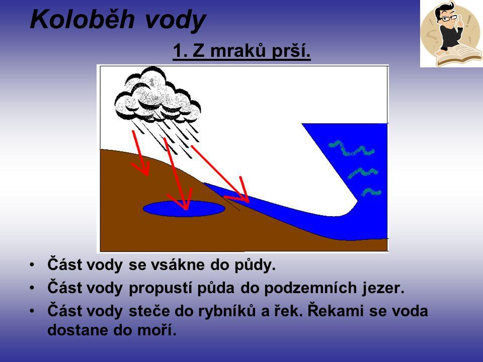 Koloběh vody 1. Z mraků prší. Část vody se vsákne do půdy.