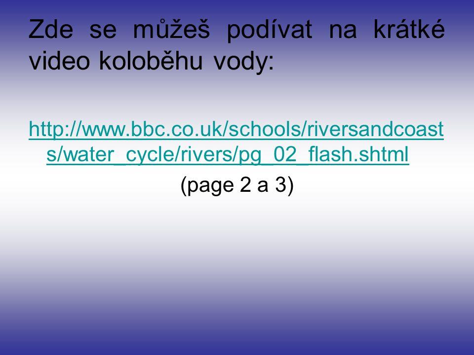 Zde se můžeš podívat na krátké video koloběhu vody: http://www.bbc.co.uk/schools/riversandcoast s/water_cycle/rivers/pg_02_flash.shtml (page 2 a 3)