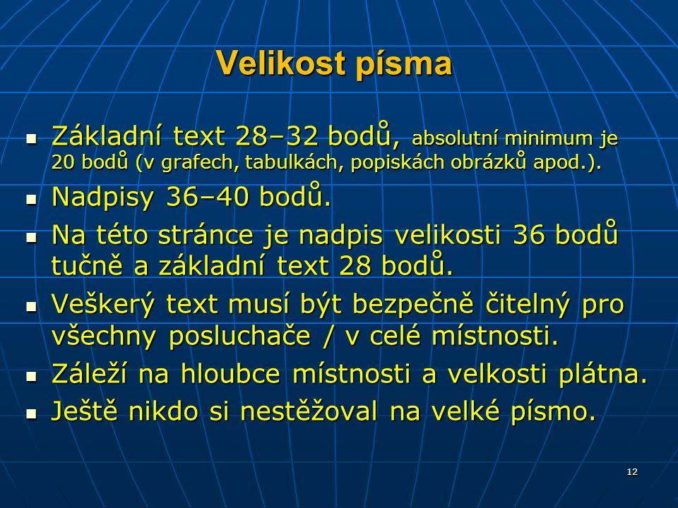 Velikost písma Základní text 28–32 bodů, absolutní minimum je 20 bodů (v grafech, tabulkách, popiskách obrázků apod.).