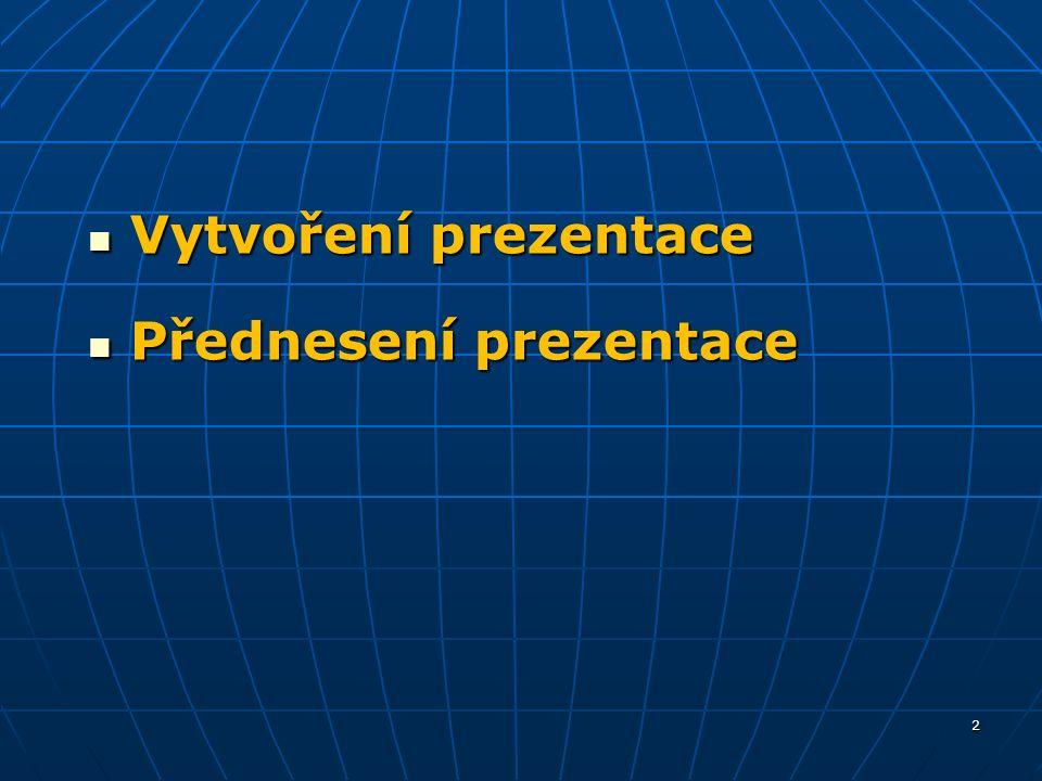 Vytvoření prezentace Vytvoření prezentace Přednesení prezentace Přednesení prezentace 2