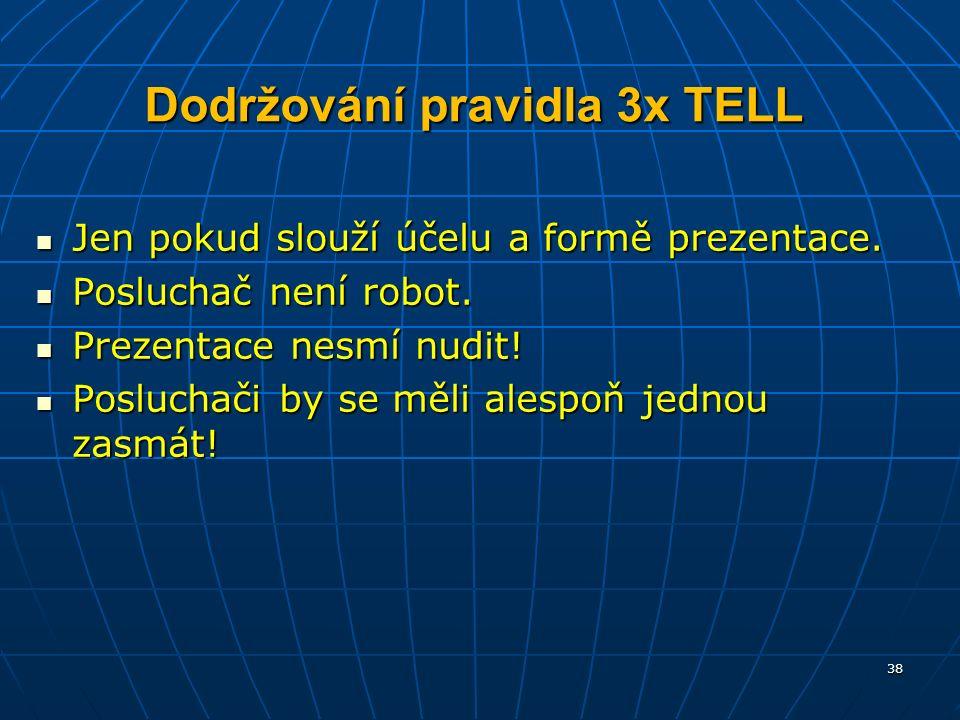 Dodržování pravidla 3x TELL Jen pokud slouží účelu a formě prezentace.