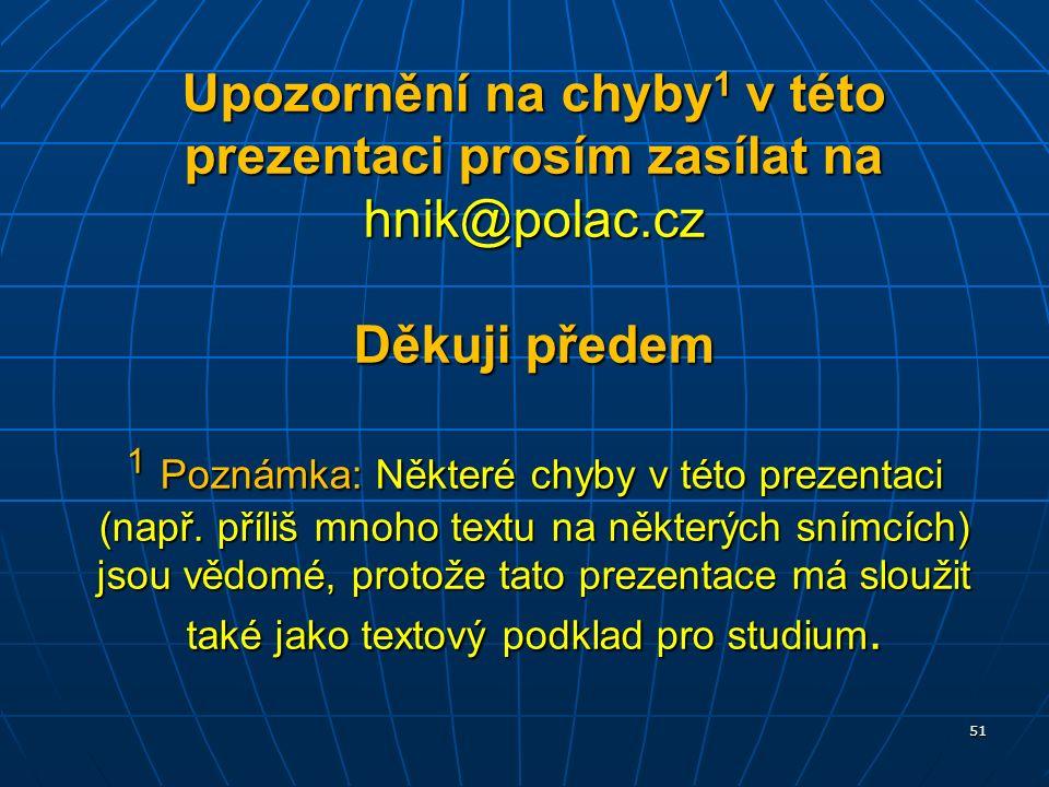 Upozornění na chyby 1 v této prezentaci prosím zasílat na hnik@polac.cz Děkuji předem 1 Poznámka: Některé chyby v této prezentaci (např.