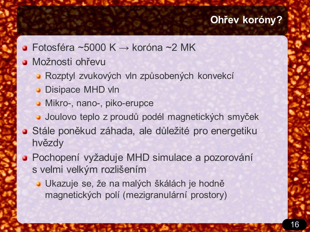 16 Ohřev koróny? Fotosféra ~5000 K → koróna ~2 MK Možnosti ohřevu Rozptyl zvukových vln způsobených konvekcí Disipace MHD vln Mikro-, nano-, piko-erup