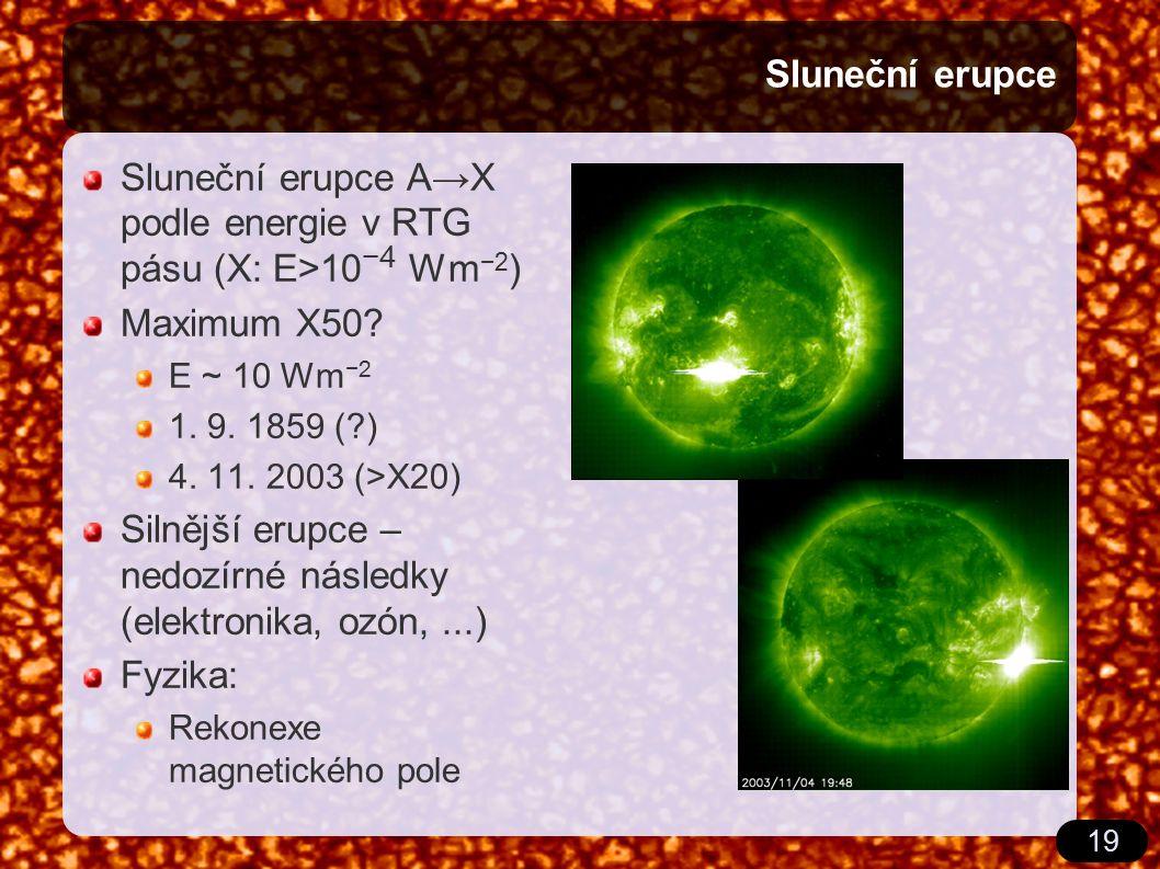 19 Sluneční erupce Sluneční erupce A→X podle energie v RTG pásu (X: E>10 −4 Wm −2 ) Maximum X50? E ~ 10 Wm −2 1. 9. 1859 (?) 4. 11. 2003 (>X20) Silněj