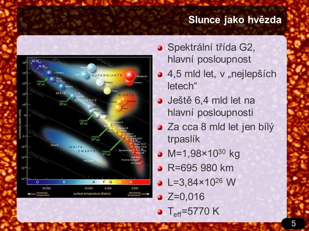 """5 Slunce jako hvězda Spektrální třída G2, hlavní posloupnost 4,5 mld let, v """"nejlepších letech Ještě 6,4 mld let na hlavní posloupnosti Za cca 8 mld let jen bílý trpaslík M=1,98×10 30 kg R=695 980 km L=3,84×10 26 W Z=0,016 T eff =5770 K"""