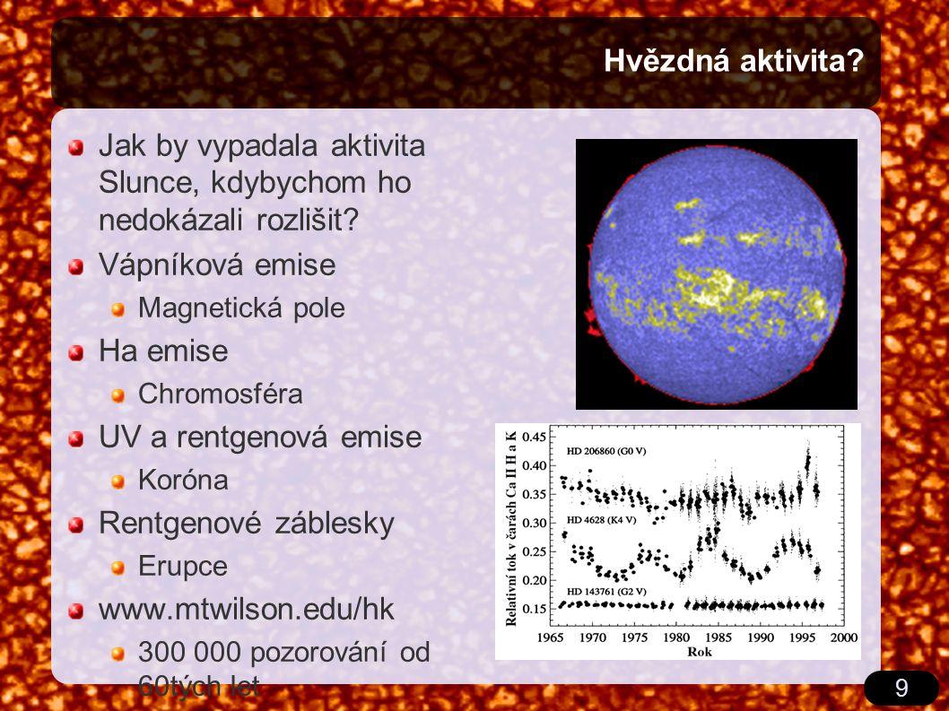 9 Hvězdná aktivita? Jak by vypadala aktivita Slunce, kdybychom ho nedokázali rozlišit? Vápníková emise Magnetická pole Ha emise Chromosféra UV a rentg