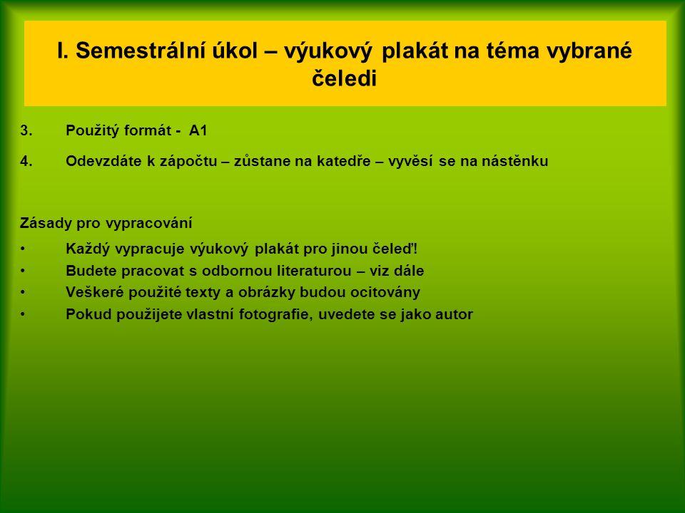 I. Semestrální úkol – výukový plakát na téma vybrané čeledi 3.Použitý formát - A1 4.Odevzdáte k zápočtu – zůstane na katedře – vyvěsí se na nástěnku Z
