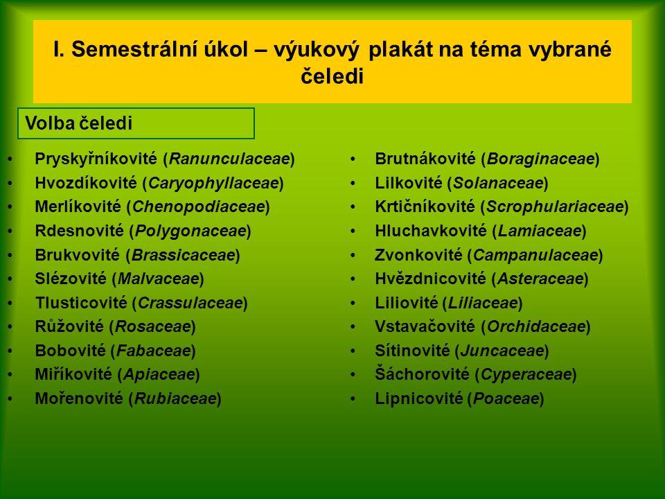 I. Semestrální úkol – výukový plakát na téma vybrané čeledi Pryskyřníkovité (Ranunculaceae) Hvozdíkovité (Caryophyllaceae) Merlíkovité (Chenopodiaceae
