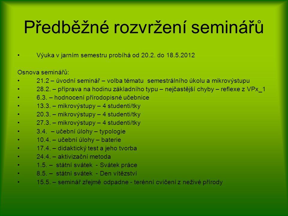Předběžné rozvržení seminářů Výuka v jarním semestru probíhá od 20.2.