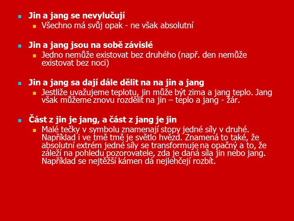 Jin a jang se nevylučují Všechno má svůj opak - ne však absolutní Jin a jang jsou na sobě závislé Jedno nemůže existovat bez druhého (např.