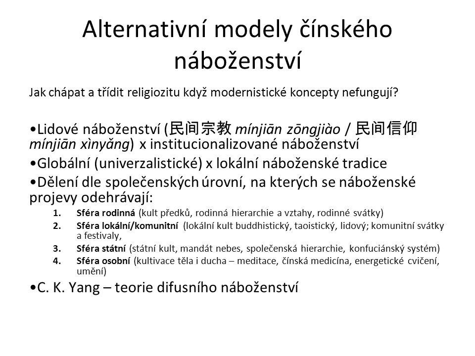 Alternativní modely čínského náboženství Jak chápat a třídit religiozitu když modernistické koncepty nefungují? Lidové náboženství ( 民间宗教 mínjiān zōn